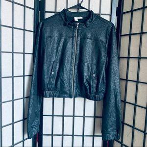 Abound black faux leather crop jacket sz L